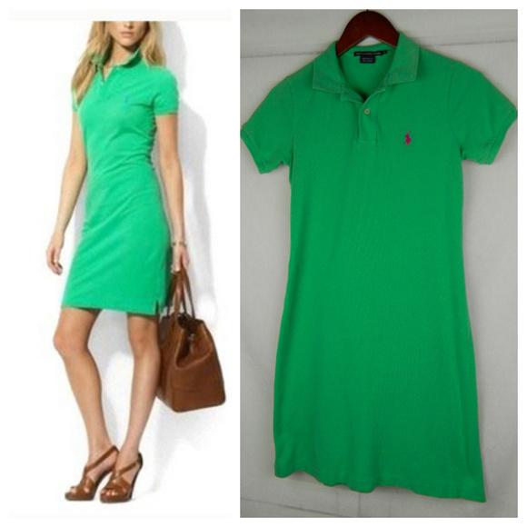 RALPH LAUREN Small POLO Shirt DRESS Green TENNIS
